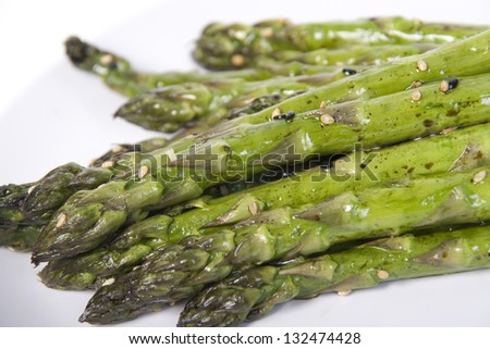 baked asparagus - stock photo