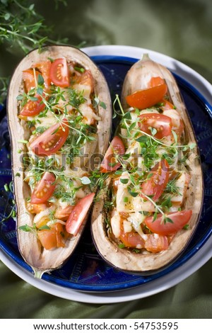 Baked aubergines with tomato - stock photo