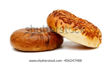 baked bagels isolated on white