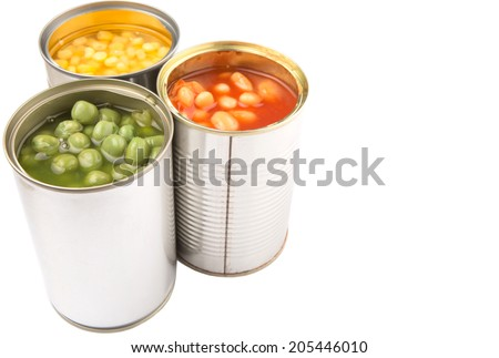 Baked beans, green peas and sweet corn in tin can over white background  - stock photo