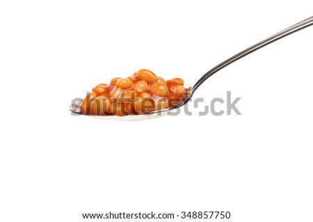 Baked beans in a spoon isolated against white - stock photo