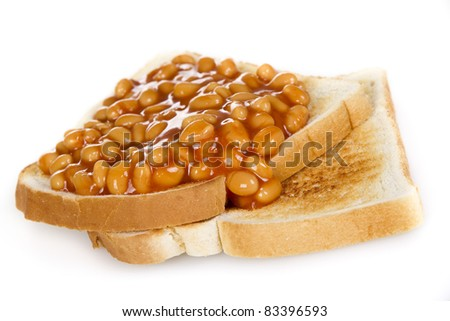 Baked beans on toasts - isolated - stock photo