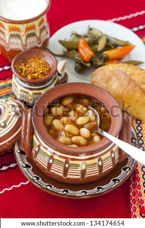 Baked beans - traditional Bulgarian meal - stock photo