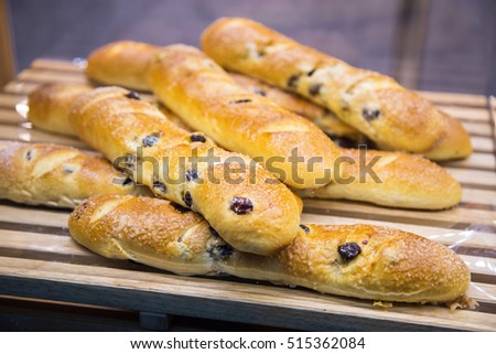 Baked bread in a bakery window display
