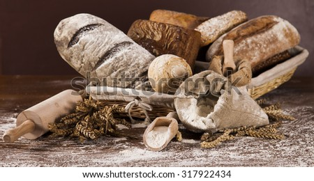 Baked bread on wood table