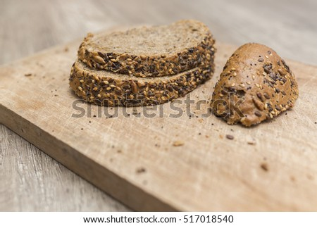 Baked bread with seeds