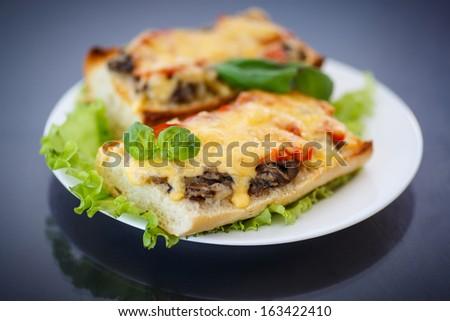 Baked bruschetta with mushrooms, tomatoes and cheese - stock photo
