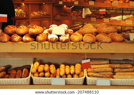 baked buns on market - stock photo