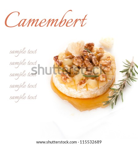Baked Camembert with honey and rosemary on a white background