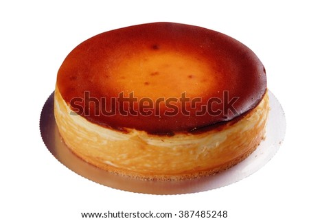 Baked cheesecake on a white background