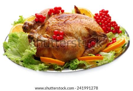 Baked chicken for festive dinner - stock photo