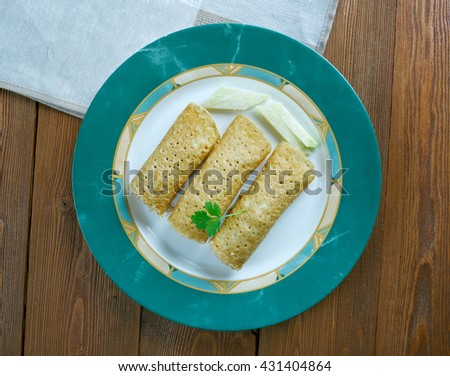 Baked  Chicken Taquitos - stock photo