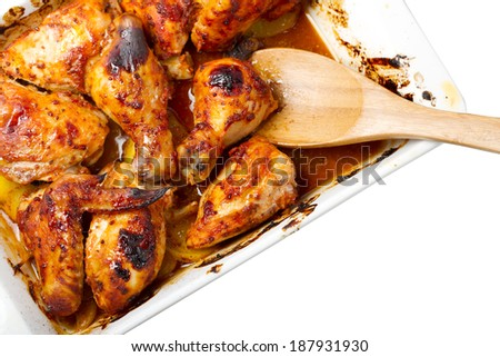 Baked chicken with tomato sauce and smoked paprika - stock photo