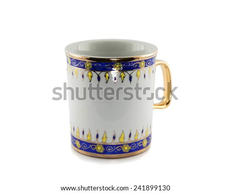 Baked clay cup on a white background ,ceramic