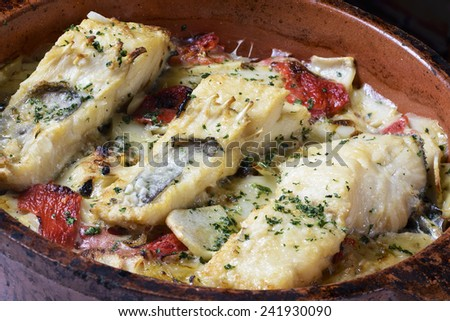 Baked cod - stock photo