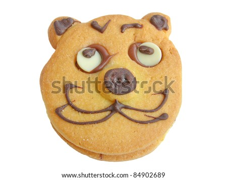 Baked cookie with cat face isolated on white - stock photo