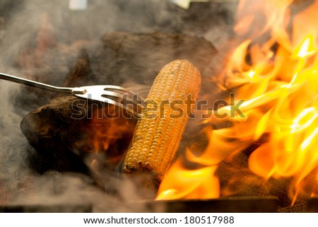 baked corn on the hot barbecue coals - stock photo