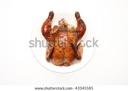 Baked Cornish game hen fresh isolated on white. - stock photo