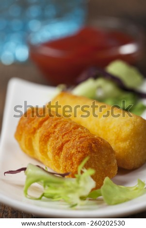 baked croquettes made of potato  - stock photo