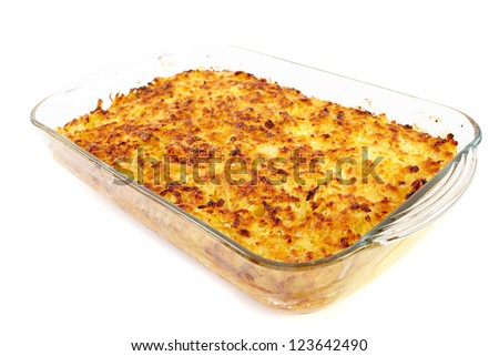 Baked crusty macaroni with cheese isolated on white background - stock photo