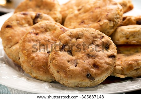 Baked English biscuits for Devonshire tea with milk