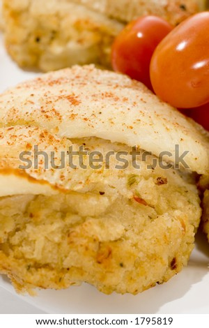 baked fillet of sole fish stuffed with real crabmeat grape tomatoes and string beans macro
