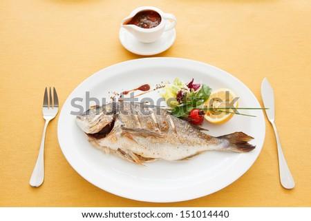 baked fish - stock photo