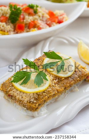 Baked fish fillet wih fresh couscous salad - stock photo