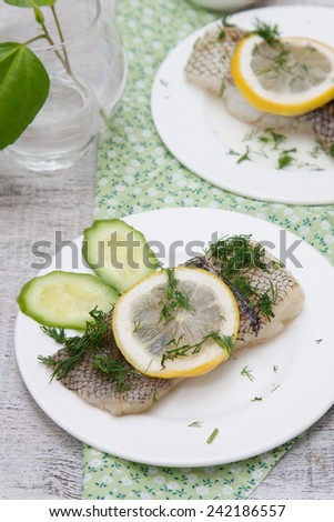 Baked fish fillet with lemon