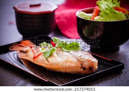 Baked fish with salad,healthy food