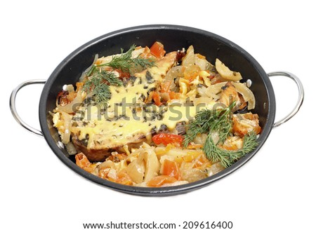 Baked fish with vegetables, isolated over white backdrop - stock photo