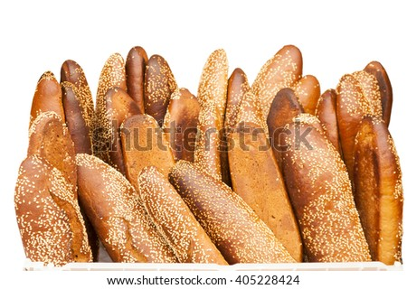 baked fried banana with sesame seeds isolated on white background - stock photo