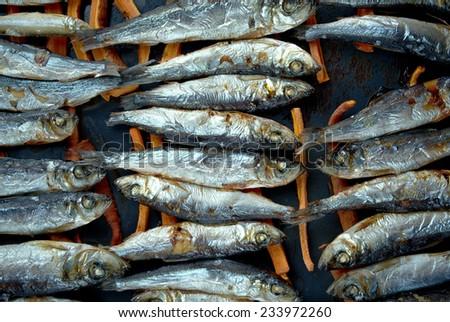 baked herring carrots into sticks.Scandinavian cuisine - stock photo