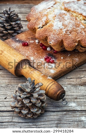 Baked homemade dessert for Christmas in the background decorations.Photo tinted.Selective focus - stock photo