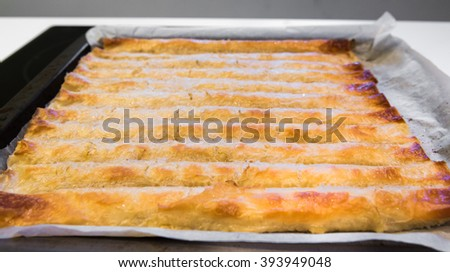 Baked homemade traditional Balkan, Bosnian, Greek, Turkish or Serbian dish burek. Domestic pastries on backing tray with bake paper. Cheese or meat pie. - stock photo