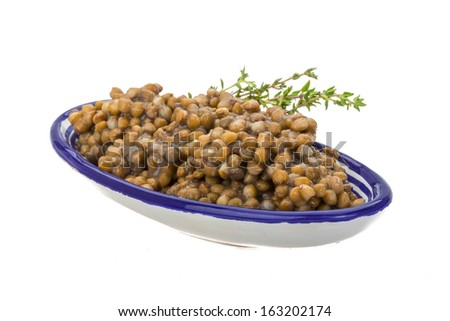 Baked Lentil with thyme - stock photo