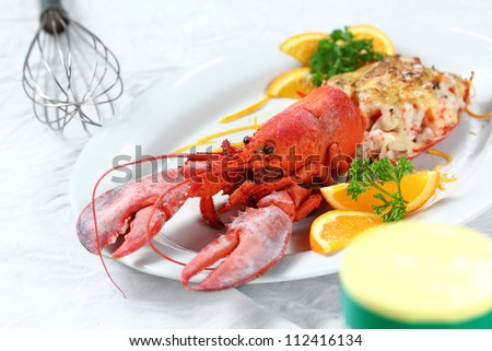 Baked lobster with cheese, macro closeup for design work - stock photo