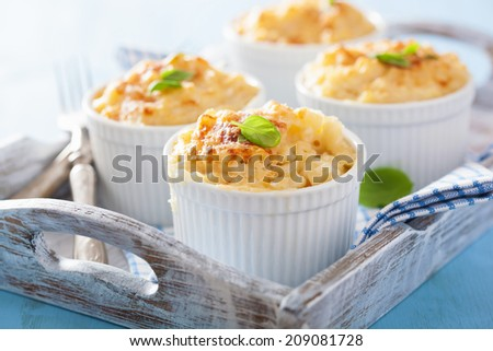 baked macaroni with cheese - stock photo