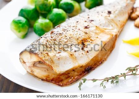 Baked mackerel - stock photo
