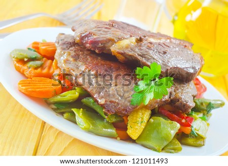 baked meat with vegetable