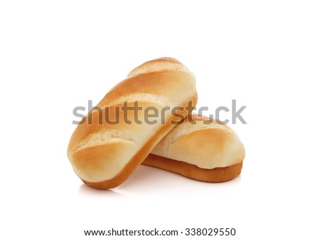 Baked milk rolls isolated on white - stock photo