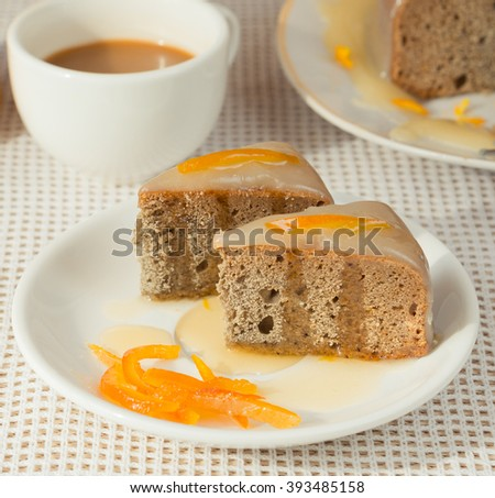 Baked orange cake and coffee
