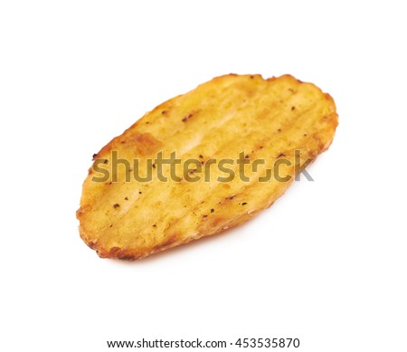 Baked potato slice isolated over the white background