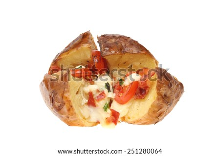 Baked potato with mozzarella cheese, pancetta, tomato and basil isolated against white - stock photo