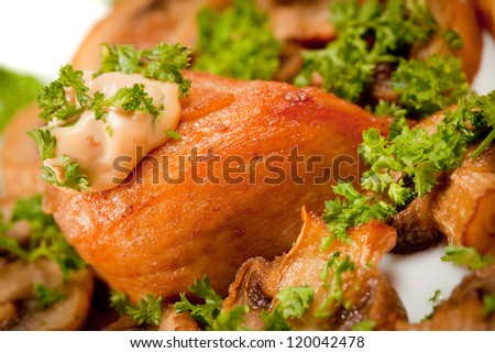 Baked potato with mushrooms and chicken breast