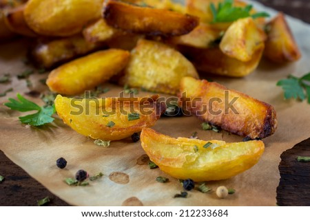Baked potatoes and chive,selective focus  - stock photo