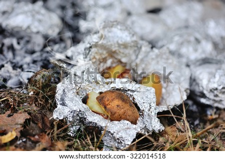 Baked potatoes covered with aluminum foil roasting in a bonfire - stock photo