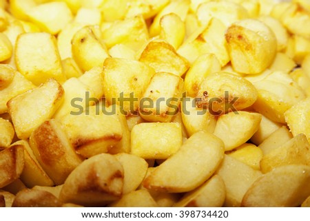 Baked potatoes, in close up, horizontal image - stock photo