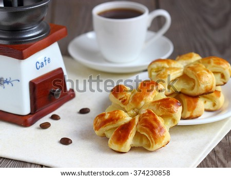 Baked puff pastry rings of pineapple. Beautiful dessert - stock photo
