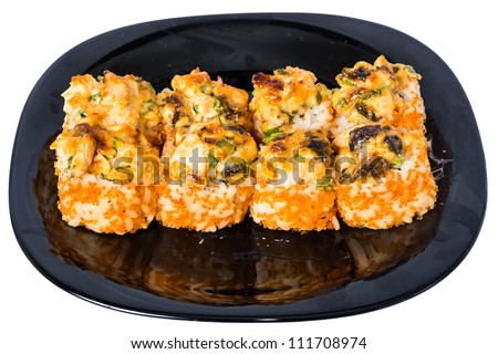 Baked rolls with mayonnaise, cheese, onions, salmon, tuna, smoked eel and shrimp. On a black plate isolated on white background. - stock photo